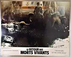 1985 THE RETURN OF THE LIVING DEAD Zombies attack an ambulance *Lobby card 34x27