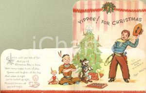 1950 ca USA Merry Christmas from Little COWBOY and Little APACHE Illustrated