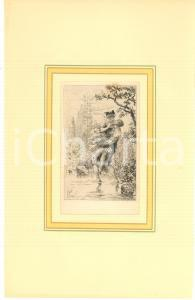 1880 ca VINTAGE EROTIC Couple of lovers near a pool - Engraving 18x29 cm