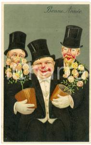 1915 ca BONNE ANNÉE - HAPPY NEW YEAR Three gentlemen with roses - Carte postale