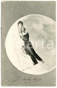 1905 ca LOVE Couple spooning in the MOON - Vintage postcard