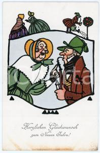 1910 NEUEN JAHRE - NEW YEAR'S EVE Old man and woman ILLUSTRATED Postcard FP NV