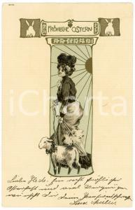 1904 FROHLICHE OSTERN - HAPPY EASTER Lady with lamb on a leash - Postcard FP VG