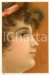 1902 FACES OF WOMEN - Girl with headband - Original old postcard