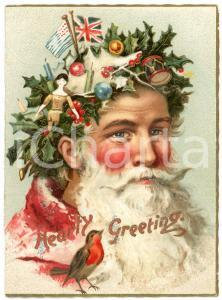 1900 ca CHRISTMAS Santa Claus with holly wreath - Embossed card