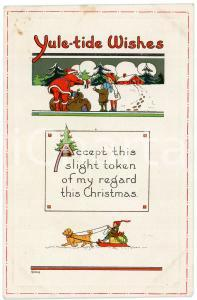 1910 ca. Yule-tide Wishes Santa Claus giving toys to children *Embossed postcard