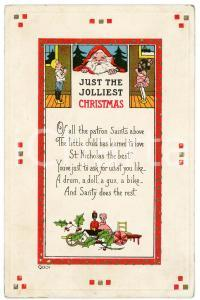 1916 Just the Jolliest CHRISTMAS - Santa Claus and children *Embossed postcard