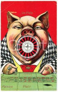 1910 ca. Un Plein - Pig with a roulette in its mouth -Anthropomorphic postcard
