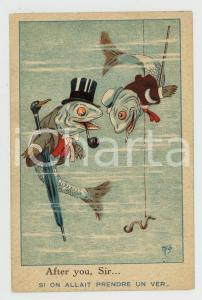 1924 ANIMALS OUR BROTHERS Fish - After your, sir - ANTHROPOMORPHIC Postcard FP