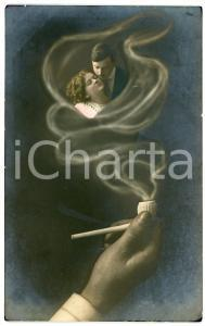 1912 LOVERS The memory of the beloved in the smoke of a pipe - Postcard FP VG