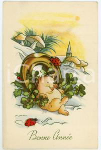 1910 ca BONNE ANNÉE Pig sitting in the snow with horseshoe and four-leaf clover