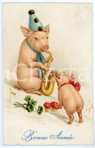 1910 ca BONNE ANNÉE - Pig playing the trumpet with a little pig - Postcard