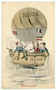 1910 BONNE ANNÉE Pigs in a balloon with good luck sign *Anthropomorphic postcard
