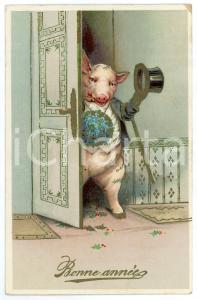 1911 BONNE ANNÉE - Pig with a hat opening the door - Embossed postcard DAMAGED
