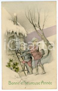 1913 BONNE ANNÉE Pigs trying to enter in the house through the window *Postcard