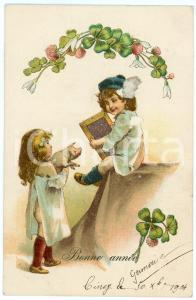 1904 BONNE ANNÉE - Children with lucky pig in arms - Carte postale