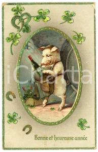 1910 BONNE ET HEUREUSE ANNÉE Lucky pig with a bottle of wine *Embossed postcard