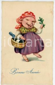 1920 ca BONNE ANNÉE - Pig with dress and basket *Anthropomorphic postcard