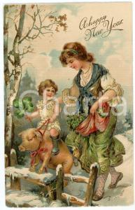 1910 ca HAPPY NEW YEAR Woman with child riding a pig - Embossed golden postcard