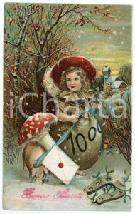 1918 BONNE ANNÉE Little girl in a forest with pig on a leash *Embossed Postacard