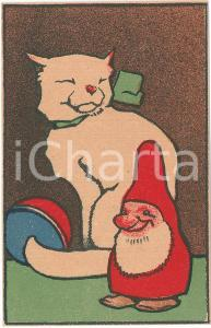 1910 ca ANIMALS White cat with gnome ILLUSTRATED Postcard FP NV
