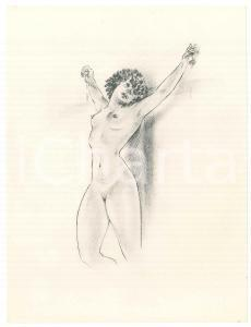 1960 ca VINTAGE EROTIC Nude woman crucified - Litograph 16x21 cm
