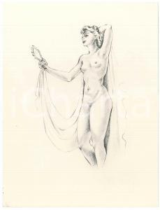 1960 ca VINTAGE EROTIC Nude woman with a mirror *Litograph 16x21 cm