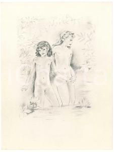 1960 ca VINTAGE EROTIC Young girls in a pond - Litograph 16x21 cm