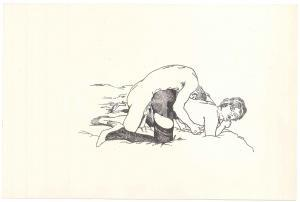 1960 ca VINTAGE EROTIC Sex on the bed - Couple (1) Drawing 27x18 cm