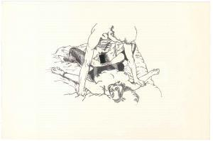 1960 ca VINTAGE EROTIC Sex on the bed - Couple (2) Drawing 27x18 cm