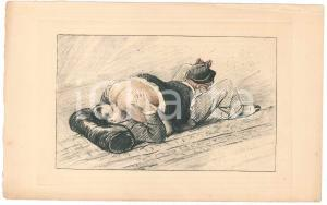 1940 ca VINTAGE EROTIC FRANCE Oral sex on the bed *Engraving  22x14 cm