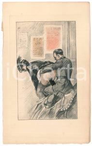 1940 ca VINTAGE EROTIC FRANCE Sex with an officer - Engraving 14x22 cm