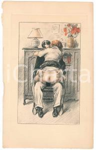 1940 ca VINTAGE EROTIC FRANCE Sex in the living room *Engraving 14x22 cm