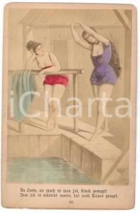 1880 ca VINTAGE EROTIC GERMANY Woman at the swimming pool - Engraving  risque