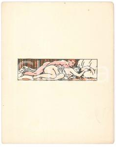 1940 ca VINTAGE EROTIC - Sex on a bed - Drawing 12x16 cm