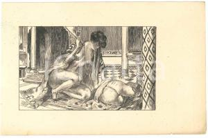 1925 ca VINTAGE EROTIC BDSM Nude woman whipping - Engraving 21x13 cm