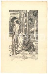 1925 ca VINTAGE EROTIC BDSM Nude mistress whipping - Engraving 13x21 cm