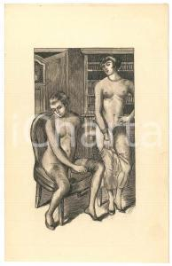 1925 ca VINTAGE EROTIC Nude couple in a living room - Engraving 13x21 cm