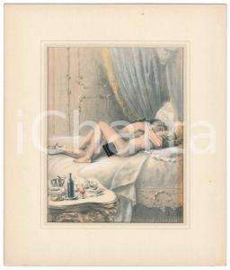 1950 ca VINTAGE EROTIC Sex in XVIIIth century - Couple on the bed - Engraving