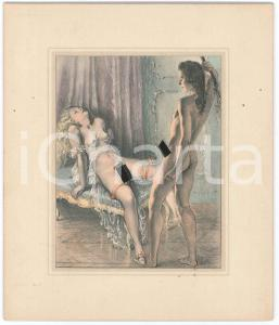 1950 ca VINTAGE EROTIC BDSM Man whipping a woman - Engraving 14x17 cm