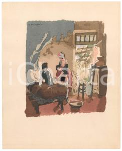 1950 ca VINTAGE EROTIC Couple in a rural house - Engraving 18x24 cm