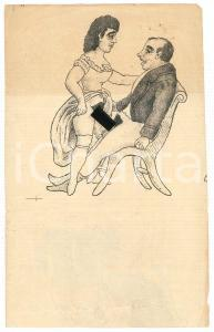 1950 ca VINTAGE EROTIC Couple at the table - Card 15x11 cm