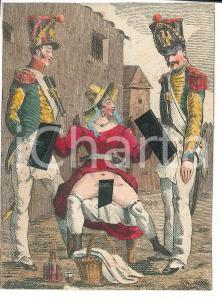 1800 ca VINTAGE EROTIC Woman with two soldiers *Watercolor engraving 6x8 cm
