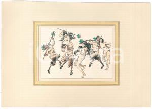 1930 ca VINTAGE EROTIC Group scene in history - Fauns and nymphs  *Watercolor