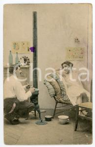 1900 ca Man cooking for his lover - French vintage postcard lingerie
