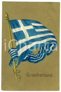 1907 GRIECHENLAND Flag of Greece ILLUSTRATED Postcard FP NV