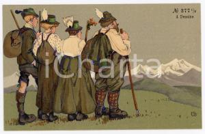 1920 ca AUSTRIA - HUMOUR Mountaineers at the top of a mountain - Postcard FP NV