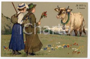 1920 ca AUSTRIA - HUMOUR Day trippers with a cow ILLUSTRATED Postcard FP NV