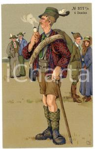 1920 ca AUSTRIA - HUMOUR Mountaineer smoking a pipe ILLUSTRATED Postcard FP NV