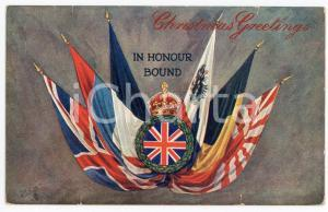 1940 ca WW2 - CHRISTMAS GREETINGS In honour bound ILLUSTRATED Postcard FP VG